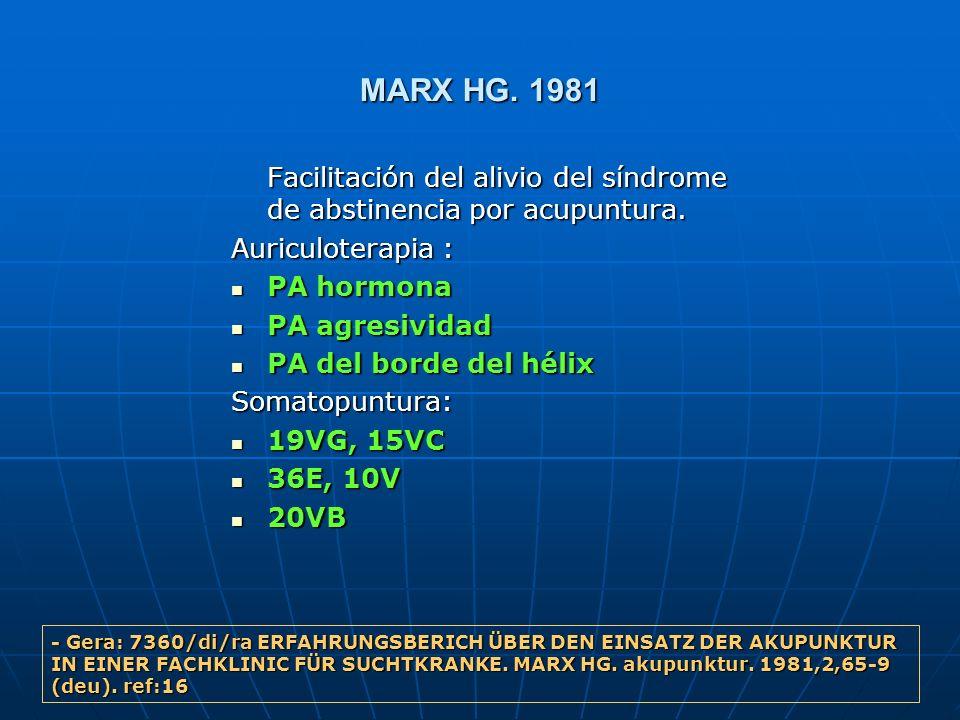 MARX HG. 1981 Facilitación del alivio del síndrome de abstinencia por acupuntura. Auriculoterapia :