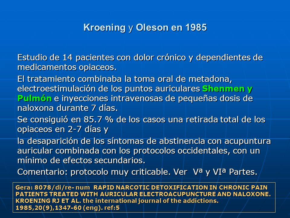 Kroening y Oleson en 1985 Estudio de 14 pacientes con dolor crónico y dependientes de medicamentos opiaceos.