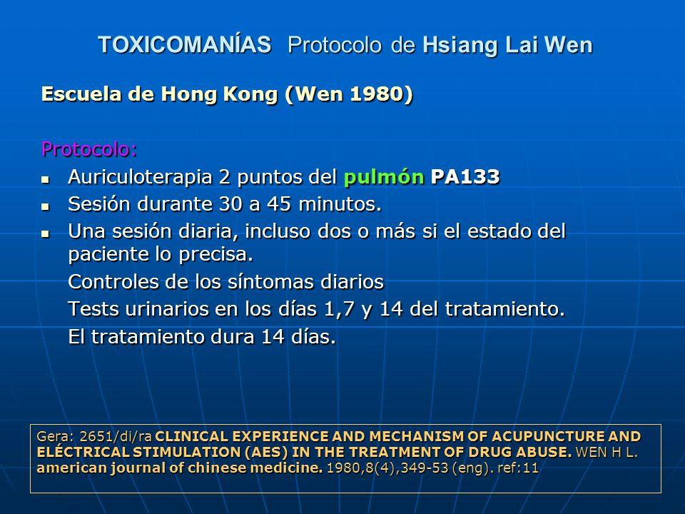 TOXICOMANÍAS Protocolo de Hsiang Lai Wen