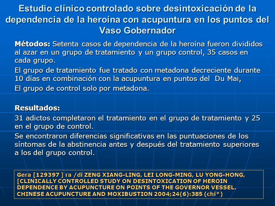 Estudio clínico controlado sobre desintoxicación de la dependencia de la heroína con acupuntura en los puntos del Vaso Gobernador