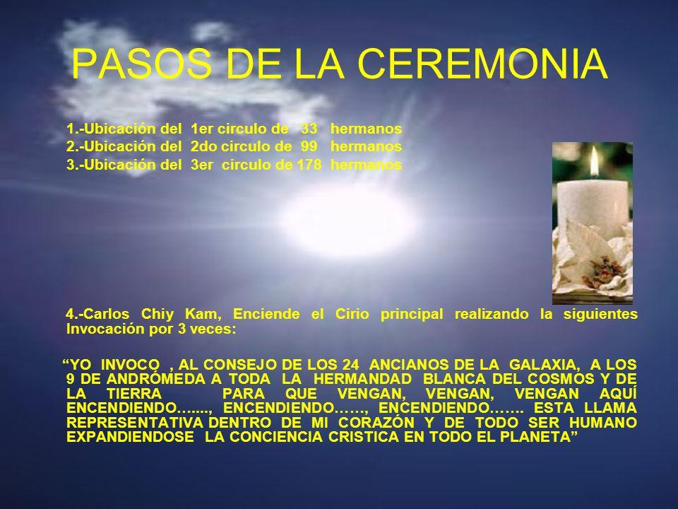 PASOS DE LA CEREMONIA 1.-Ubicación del 1er circulo de 33 hermanos