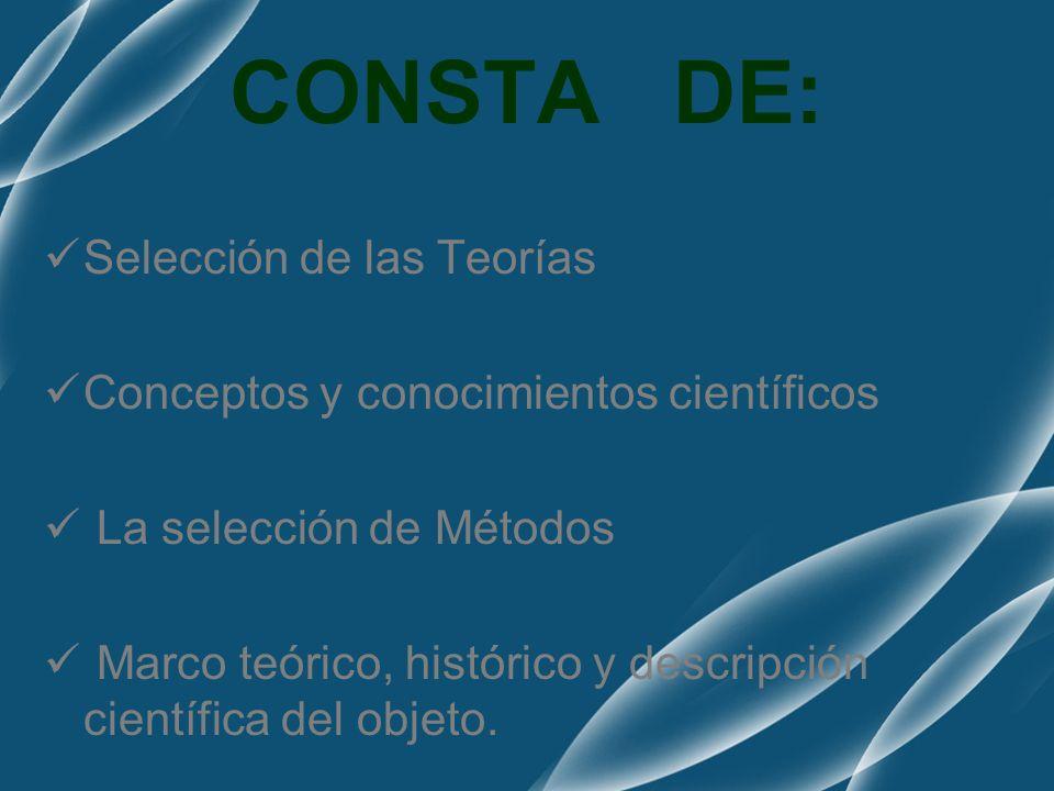 CONSTA DE: Selección de las Teorías