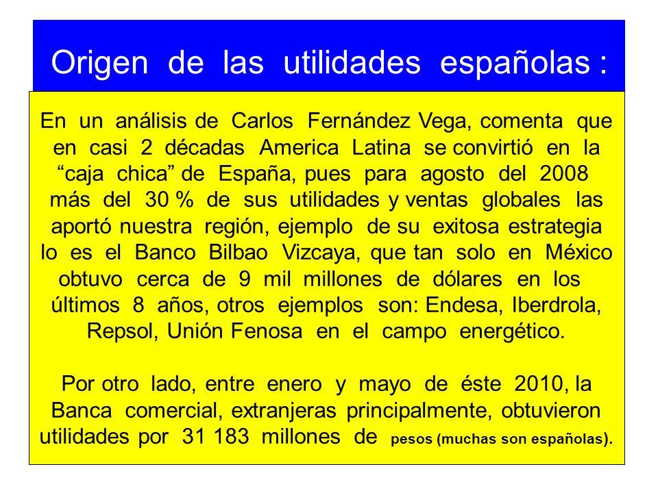 Origen de las utilidades españolas :