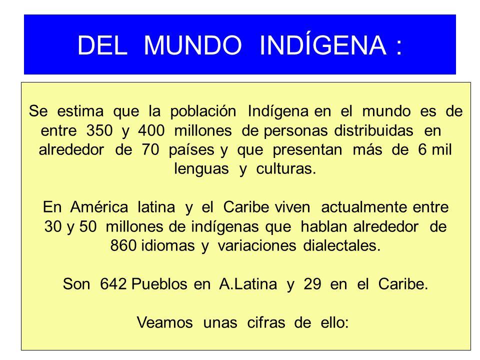 DEL MUNDO INDÍGENA : Se estima que la población Indígena en el mundo es de. entre 350 y 400 millones de personas distribuidas en.