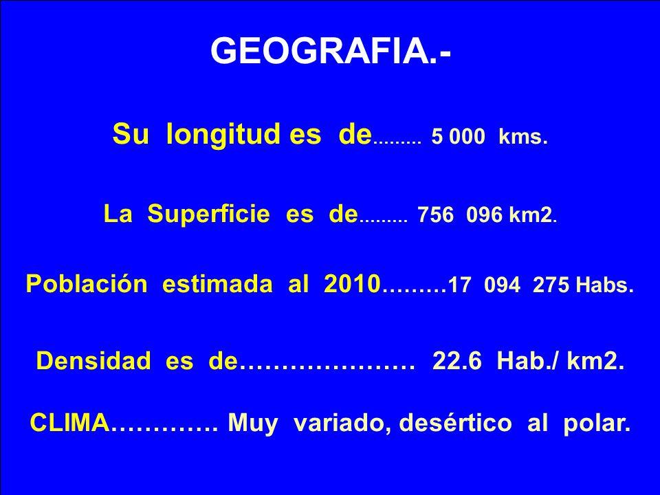GEOGRAFIA.- Su longitud es de……… 5 000 kms.