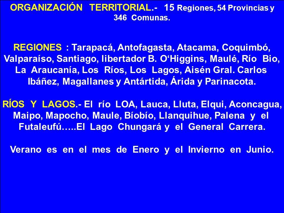 ORGANIZACIÓN TERRITORIAL.- 15 Regiones, 54 Provincias y
