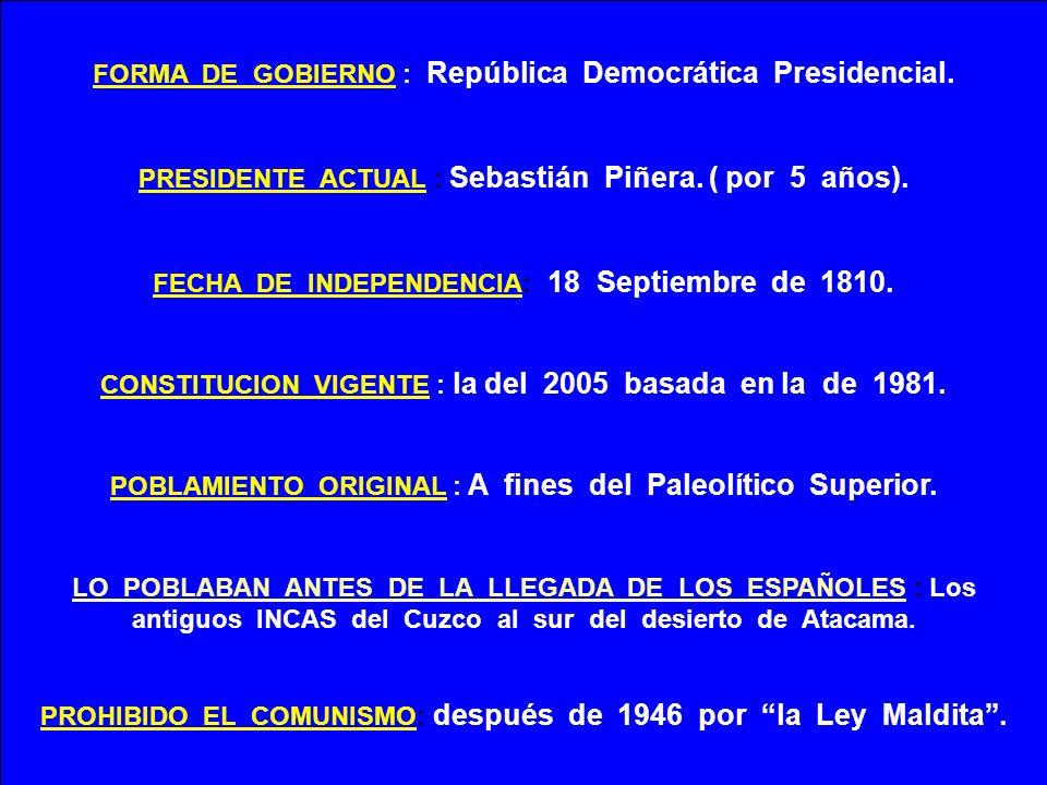 FORMA DE GOBIERNO : República Democrática Presidencial.