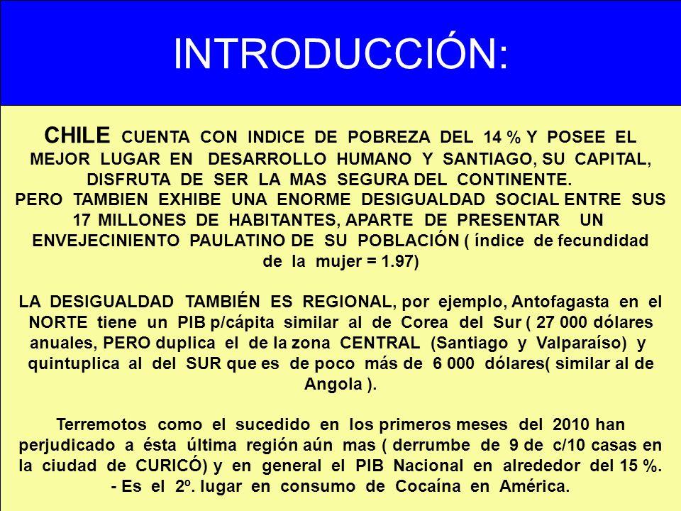 INTRODUCCIÓN: CHILE CUENTA CON INDICE DE POBREZA DEL 14 % Y POSEE EL