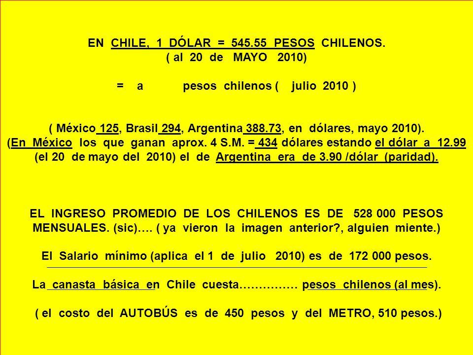 EN CHILE, 1 DÓLAR = 545.55 PESOS CHILENOS. ( al 20 de MAYO 2010)