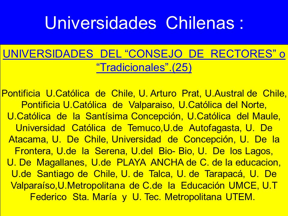 Universidades Chilenas :