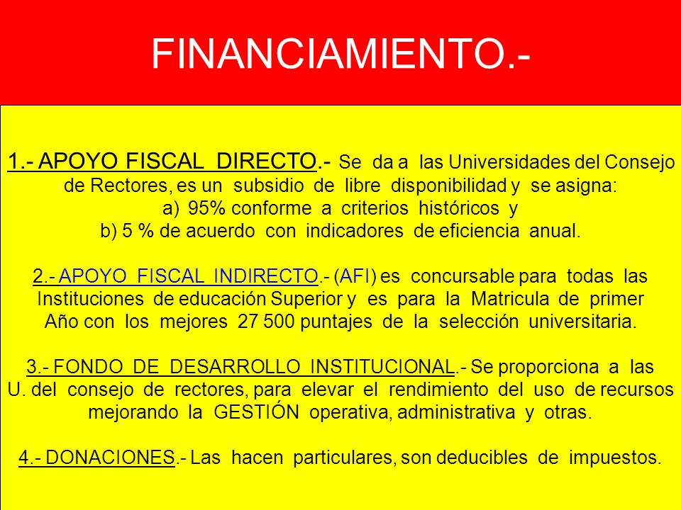 FINANCIAMIENTO.- 1.- APOYO FISCAL DIRECTO.- Se da a las Universidades del Consejo.