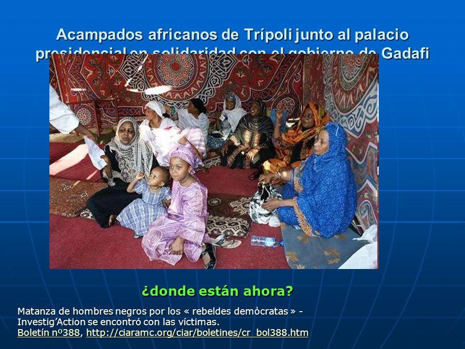 Acampados africanos de Trípoli junto al palacio presidencial en solidaridad con el gobierno de Gadafi