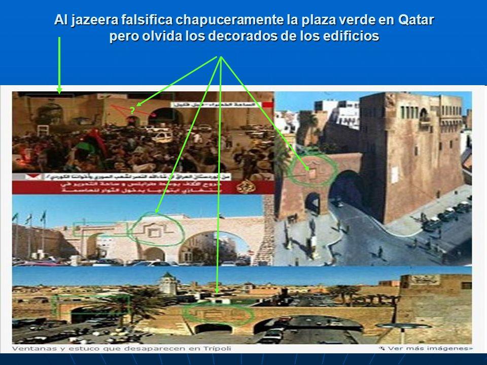 Al jazeera falsifica chapuceramente la plaza verde en Qatar pero olvida los decorados de los edificios
