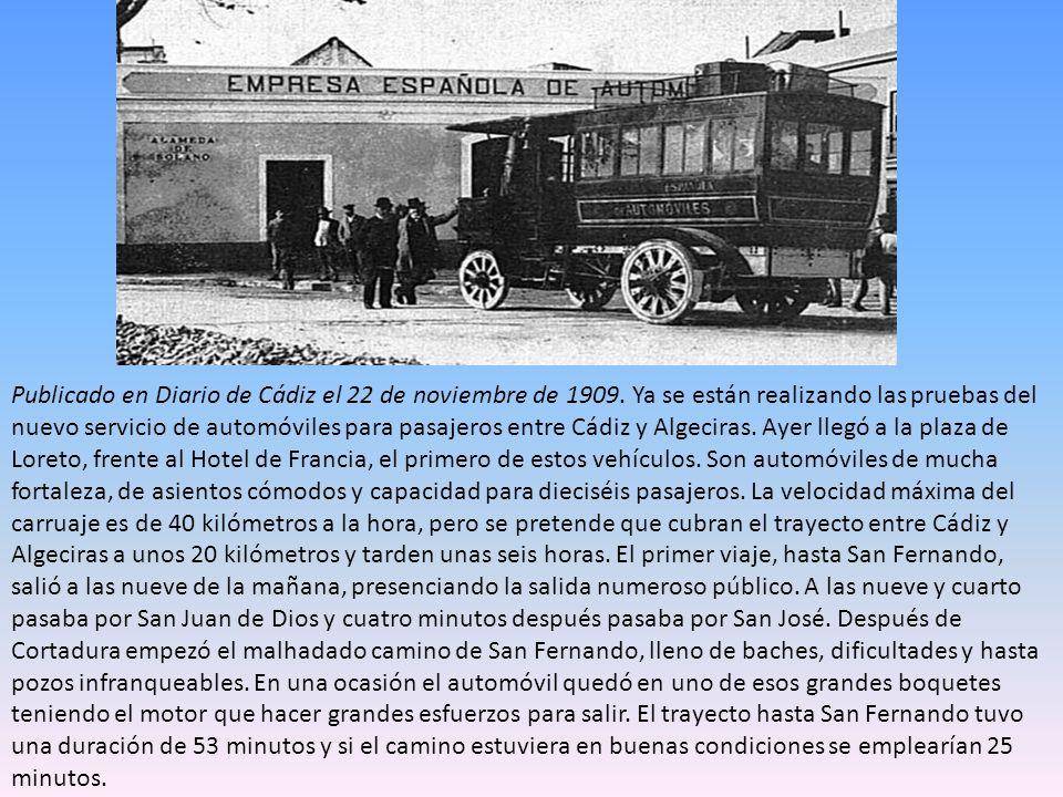 Publicado en Diario de Cádiz el 22 de noviembre de 1909