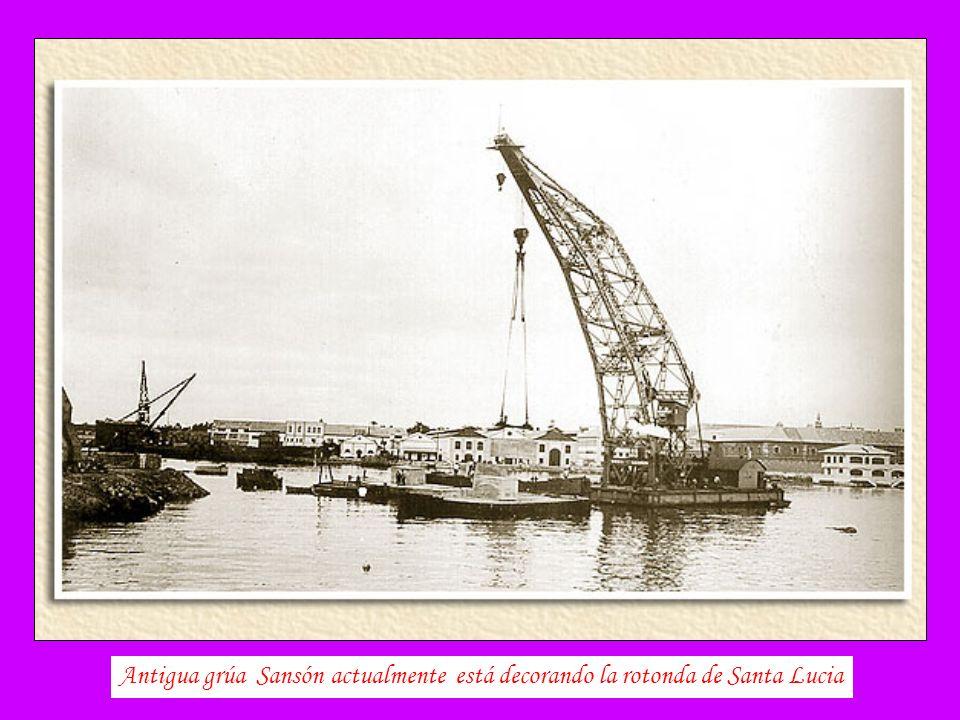 Antigua grúa Sansón actualmente está decorando la rotonda de Santa Lucia