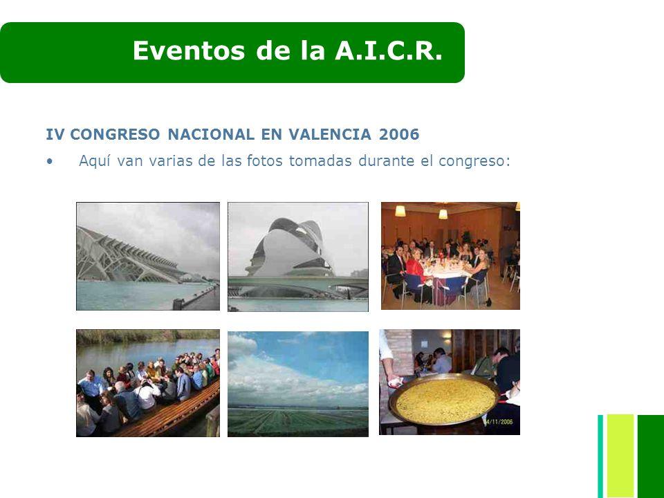 Eventos de la A.I.C.R. IV CONGRESO NACIONAL EN VALENCIA 2006
