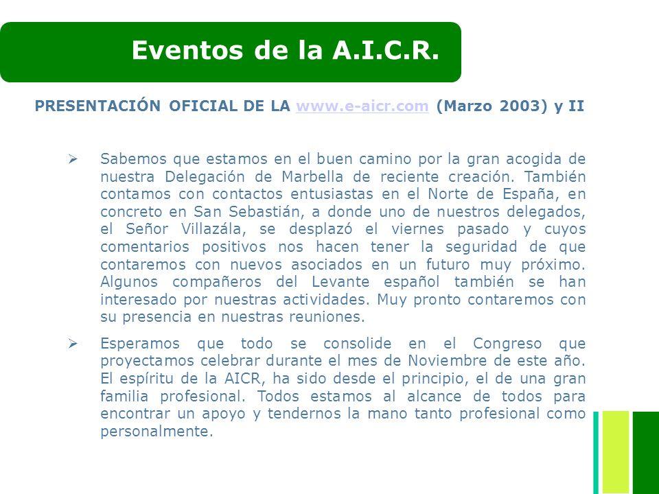 Eventos de la A.I.C.R. PRESENTACIÓN OFICIAL DE LA www.e-aicr.com (Marzo 2003) y II.