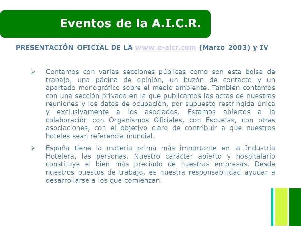Eventos de la A.I.C.R. PRESENTACIÓN OFICIAL DE LA www.e-aicr.com (Marzo 2003) y IV.