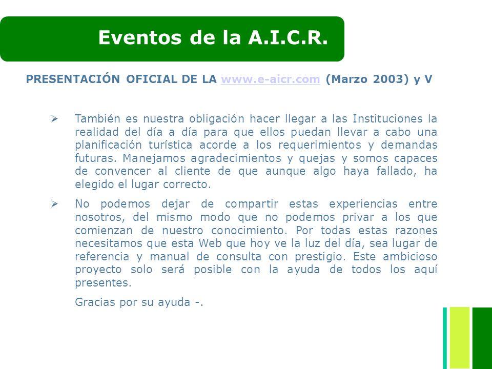 Eventos de la A.I.C.R. PRESENTACIÓN OFICIAL DE LA www.e-aicr.com (Marzo 2003) y V.