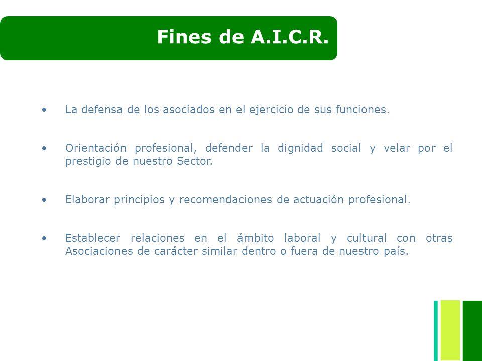 Fines de A.I.C.R. La defensa de los asociados en el ejercicio de sus funciones.
