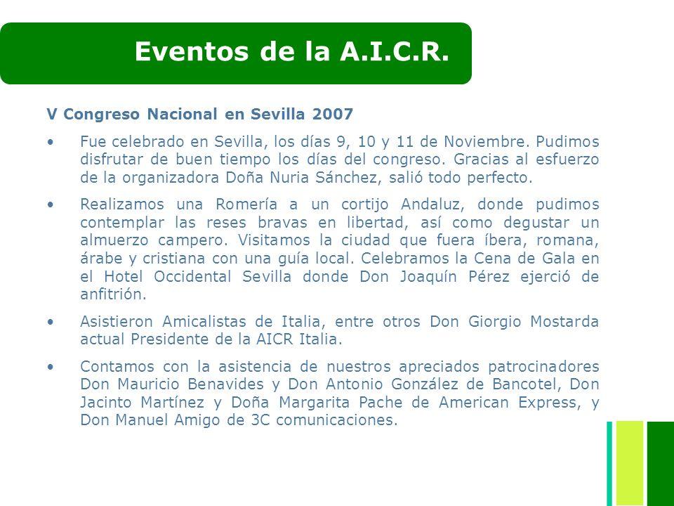 Eventos de la A.I.C.R. V Congreso Nacional en Sevilla 2007