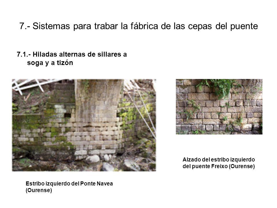 7.- Sistemas para trabar la fábrica de las cepas del puente