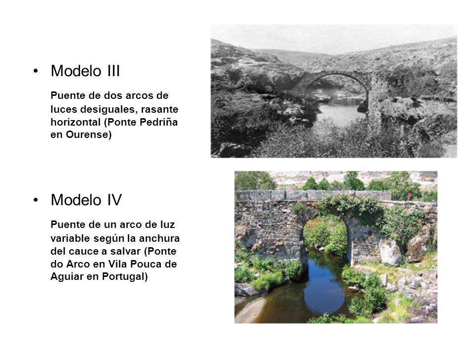 Modelo III Puente de dos arcos de luces desiguales, rasante horizontal (Ponte Pedriña en Ourense) Modelo IV.