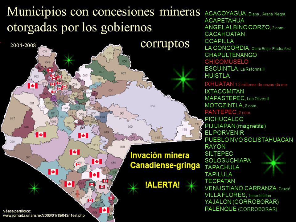 Municipios con concesiones mineras otorgadas por los gobiernos