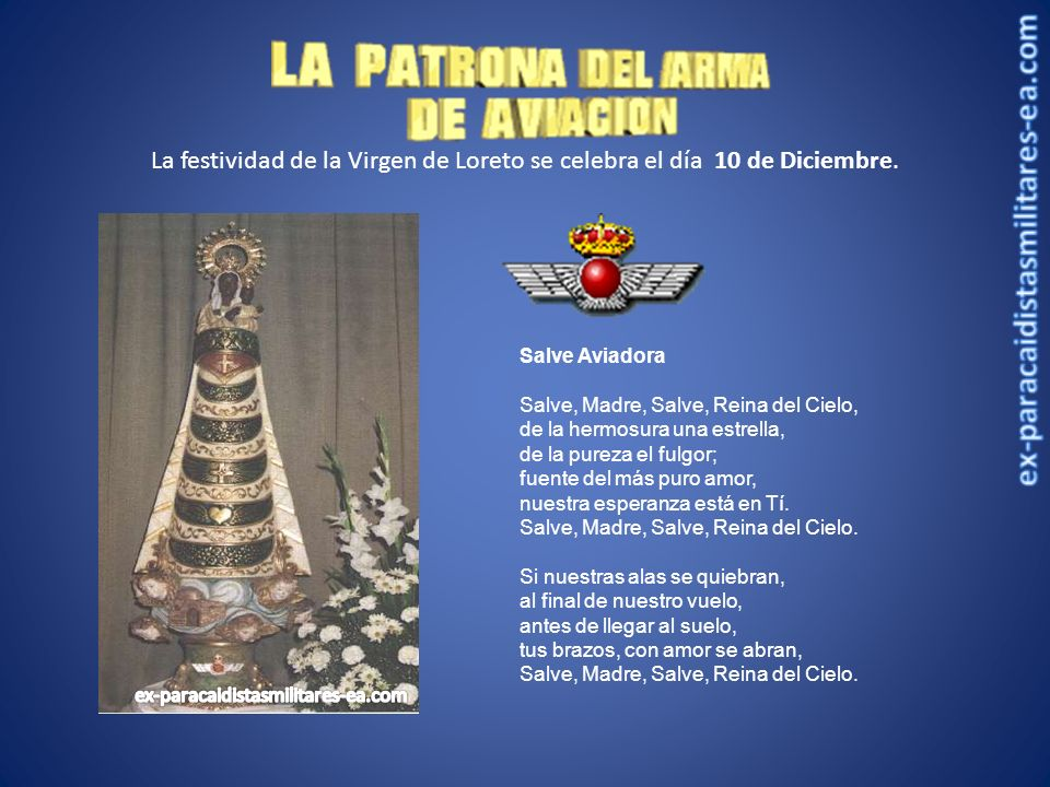La festividad de la Virgen de Loreto se celebra el día 10 de Diciembre.