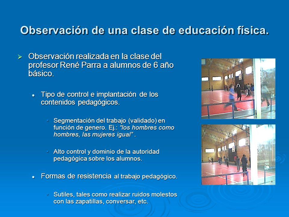 Observación de una clase de educación física.