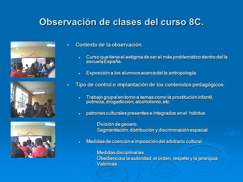 Observación de clases del curso 8C.