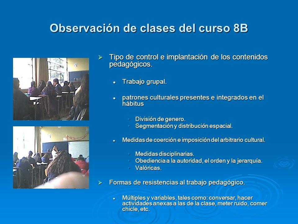 Observación de clases del curso 8B