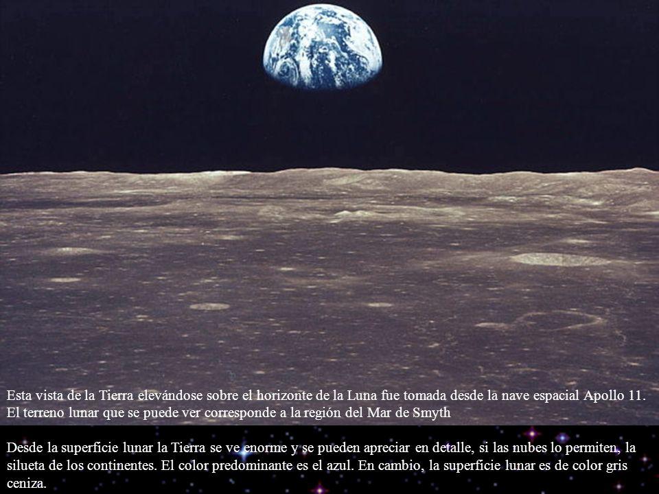Esta vista de la Tierra elevándose sobre el horizonte de la Luna fue tomada desde la nave espacial Apollo 11. El terreno lunar que se puede ver corresponde a la región del Mar de Smyth