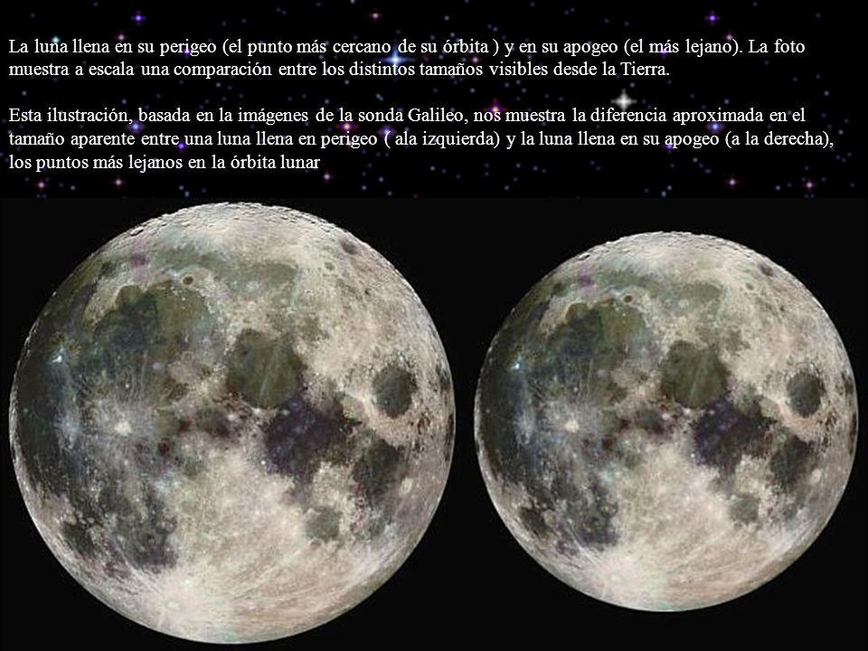 La luna llena en su perigeo (el punto más cercano de su órbita ) y en su apogeo (el más lejano).