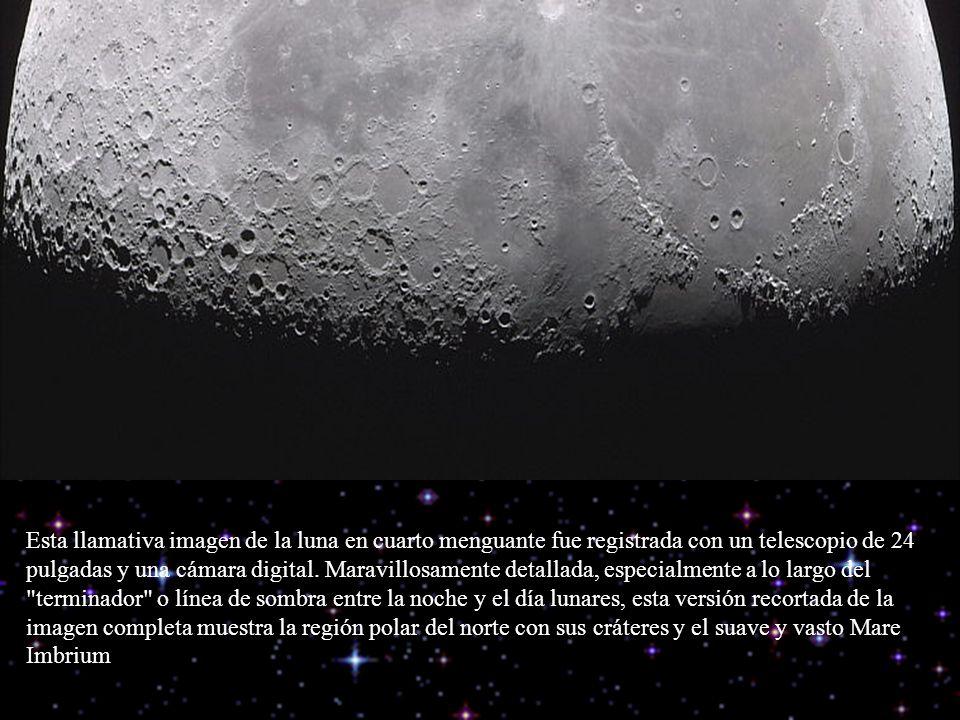 Esta llamativa imagen de la luna en cuarto menguante fue registrada con un telescopio de 24 pulgadas y una cámara digital.