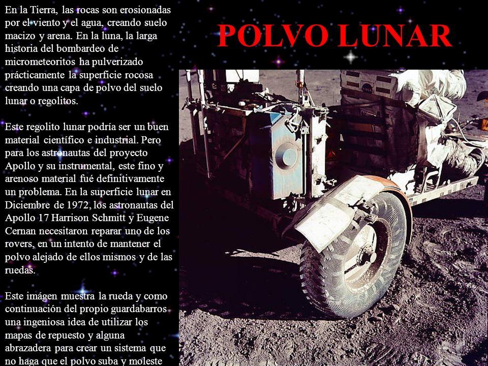 En la Tierra, las rocas son erosionadas por el viento y el agua, creando suelo macizo y arena. En la luna, la larga historia del bombardeo de micrometeoritos ha pulverizado prácticamente la superficie rocosa creando una capa de polvo del suelo lunar o regolitos. Este regolito lunar podría ser un buen material científico e industrial. Pero para los astronautas del proyecto Apollo y su instrumental, este fino y arenoso material fué definitivamente un problema. En la superficie lunar en Diciembre de 1972, los astronautas del Apollo 17 Harrison Schmitt y Eugene Cernan necesitaron reparar uno de los rovers, en un intento de mantener el polvo alejado de ellos mismos y de las ruedas. Este imágen muestra la rueda y como continuación del propio guardabarros una ingeniosa idea de utilizar los mapas de repuesto y alguna abrazadera para crear un sistema que no haga que el polvo suba y moleste