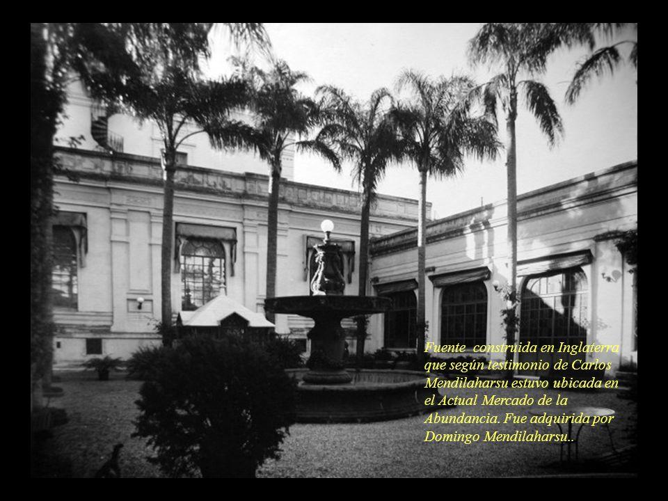 Fuente construida en Inglaterra que según testimonio de Carlos Mendilaharsu estuvo ubicada en el Actual Mercado de la Abundancia.