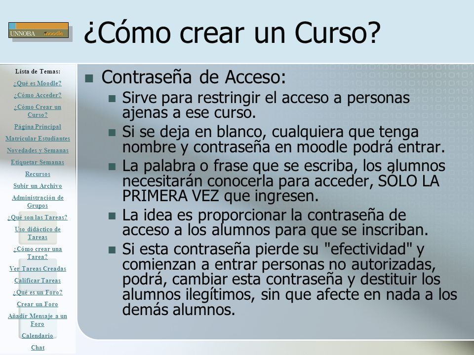 ¿Cómo crear un Curso Contraseña de Acceso: