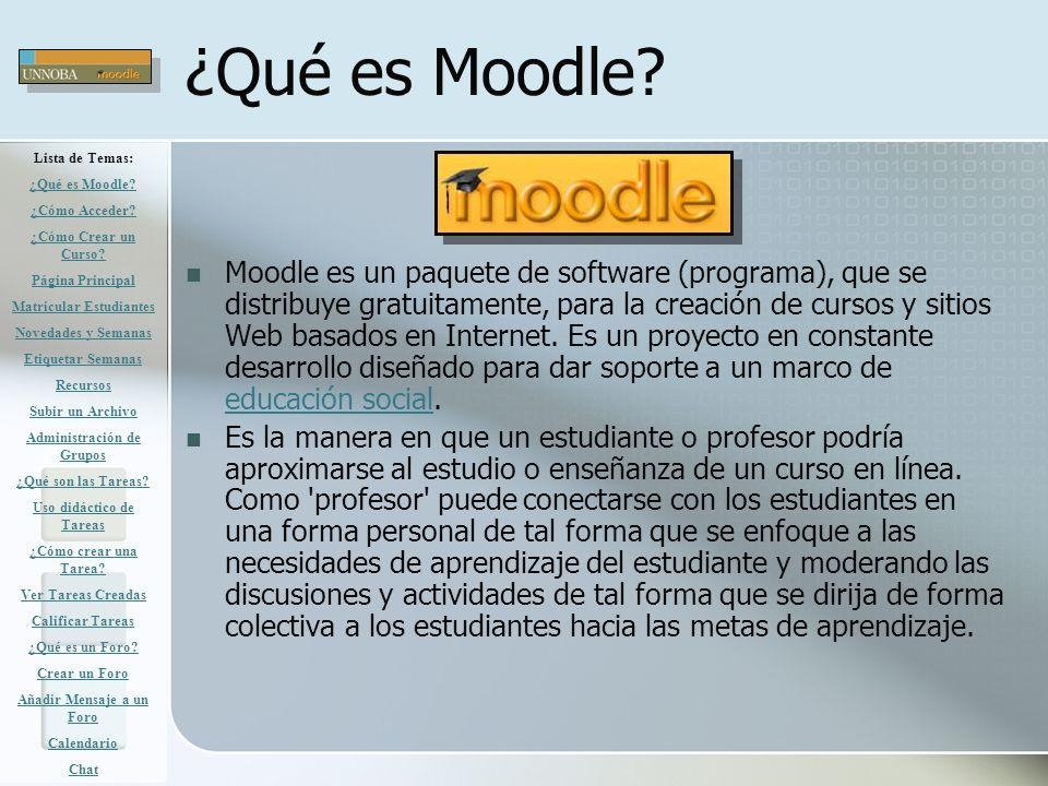 ¿Qué es Moodle Lista de Temas: ¿Qué es Moodle ¿Cómo Acceder ¿Cómo Crear un Curso Página Principal.