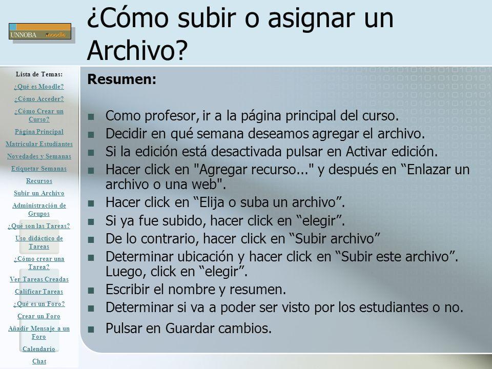 ¿Cómo subir o asignar un Archivo