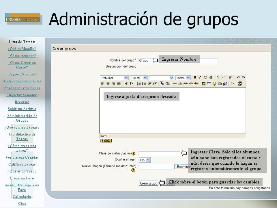 Administración de grupos