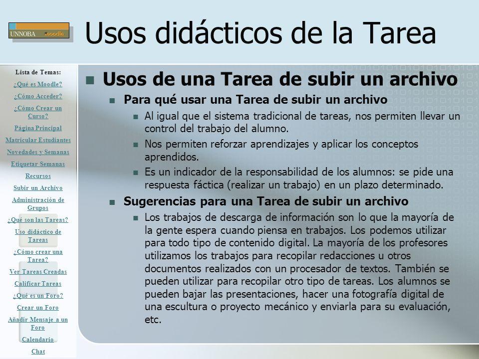 Usos didácticos de la Tarea
