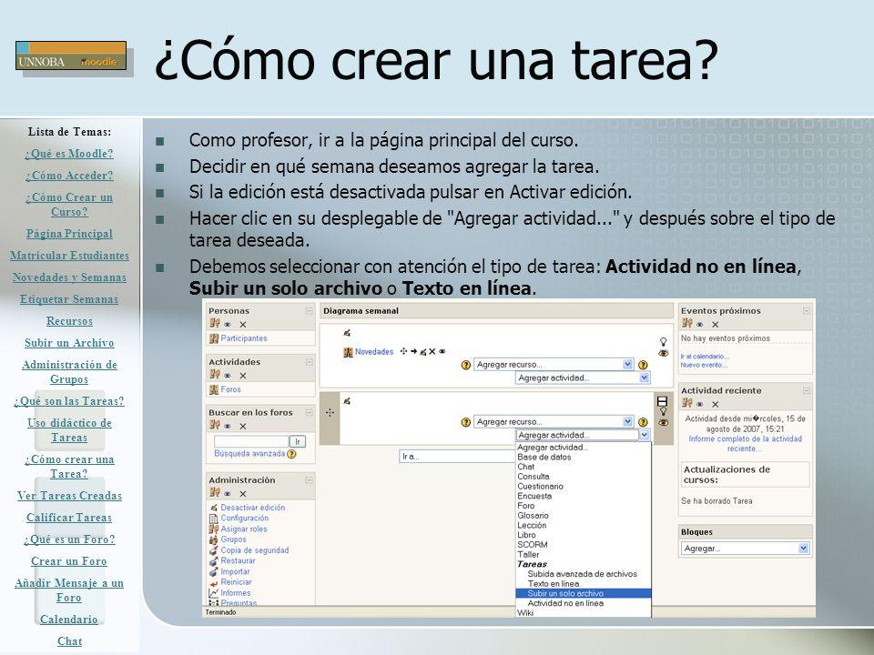 ¿Cómo crear una tarea Lista de Temas: ¿Qué es Moodle ¿Cómo Acceder ¿Cómo Crear un Curso Página Principal.