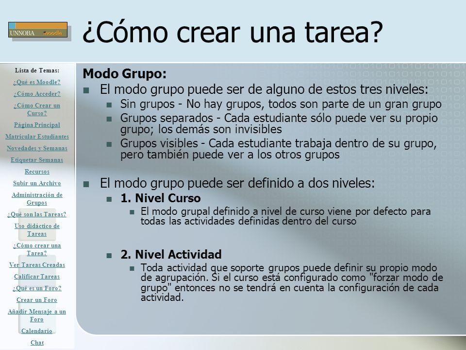 ¿Cómo crear una tarea Modo Grupo: