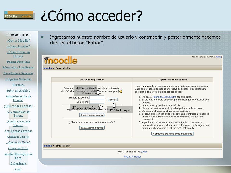 ¿Cómo acceder Lista de Temas: ¿Qué es Moodle ¿Cómo Acceder ¿Cómo Crear un Curso Página Principal.