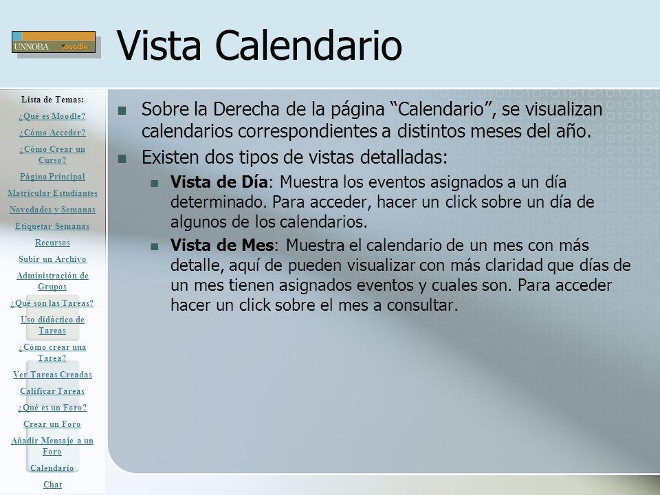 Vista Calendario Lista de Temas: ¿Qué es Moodle ¿Cómo Acceder ¿Cómo Crear un Curso Página Principal.