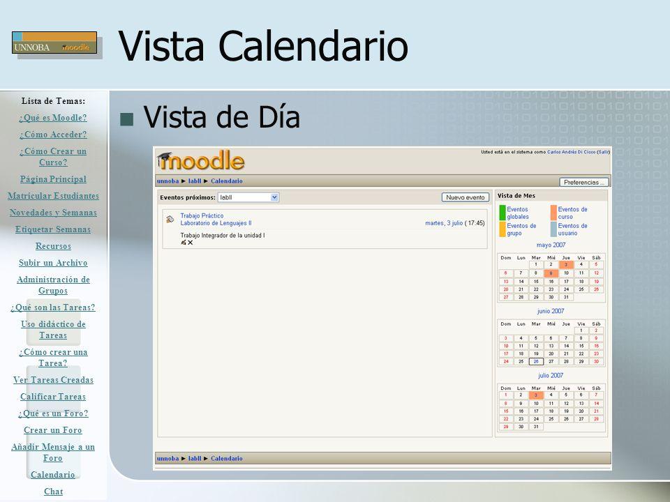 Vista Calendario Vista de Día Lista de Temas: ¿Qué es Moodle