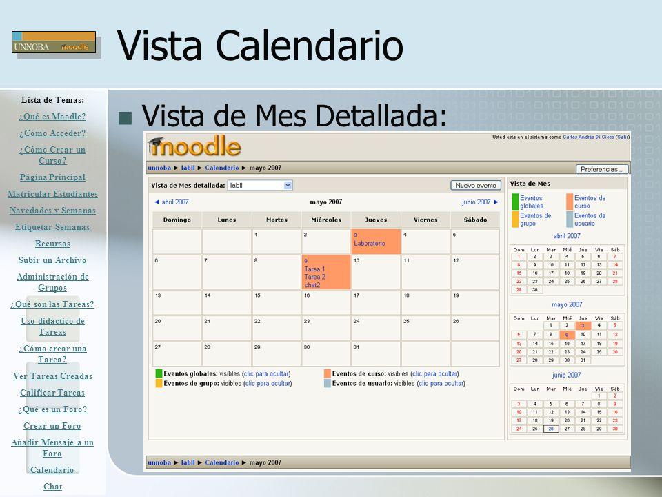 Vista Calendario Vista de Mes Detallada: Lista de Temas: