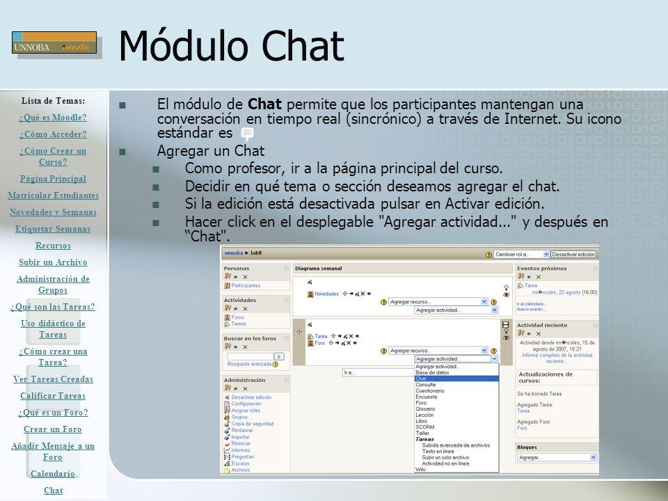 Módulo Chat Lista de Temas: ¿Qué es Moodle ¿Cómo Acceder ¿Cómo Crear un Curso Página Principal.