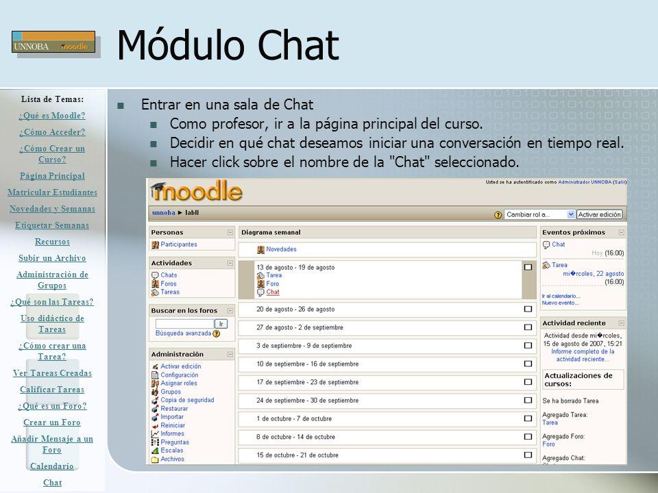 Módulo Chat Entrar en una sala de Chat